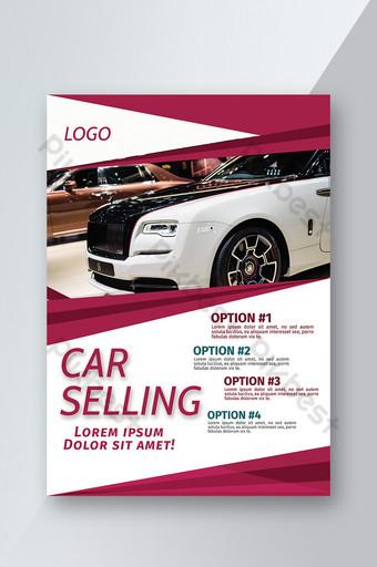 Flyer de vente de voiture géométrique élégante rouge Modèle AI