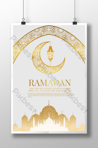 poster ramadan masjid emas bermotif indah Templat PSD