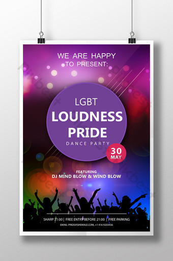 LGBT Pride Dance Party Poster Template PSD