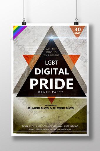 LGBT數字驕傲舞會海報模板 模板 PSD