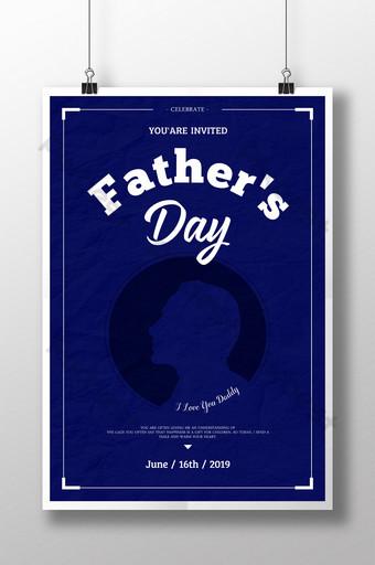 Affiche d'invitation de fête des pères de Thanksgiving classique Modèle PSD