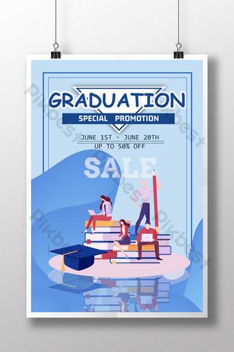 Blue minimalist graduation season promotion poster Template PSD