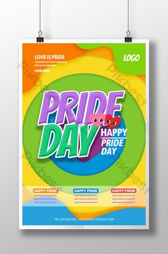 الكرتون فخر مهرجان حزب حزب مثلي الجنس بيع قالب ملصق قالب PSD