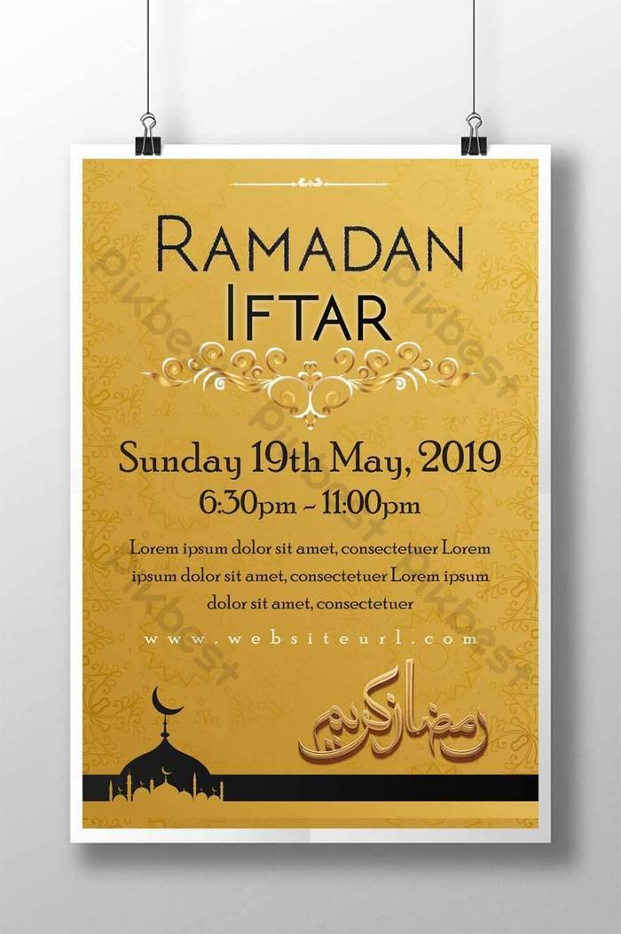 Gradient Golden Ramadan Iftar Poster Ai Free Download Pikbest
