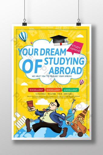 Modèle d'affiche d'éducation de dessin animé jaune pour les études à l'étranger Modèle PSD