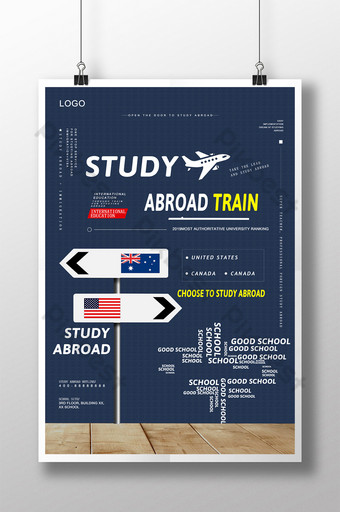 Modèle d'affiche d'apprentissage bleu pour l'éducation à l'étranger Modèle PSD