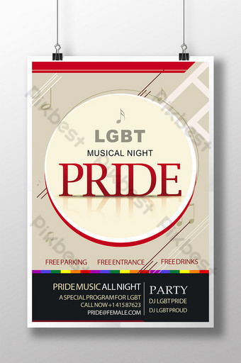 LGBT Pride Music Night Circle Poster Template PSD