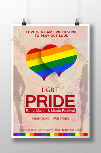 LGBT Pride Two Hearts Poster Template PSD