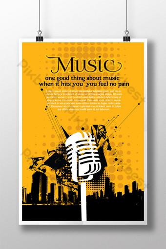 cartel de música de silueta punteada naranja Modelo AI