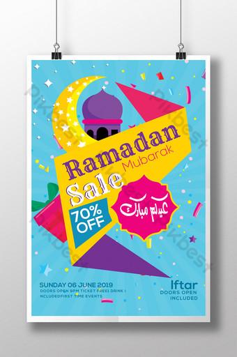 Modèle de Flyer de réduction de vente ramadan Modèle PSD