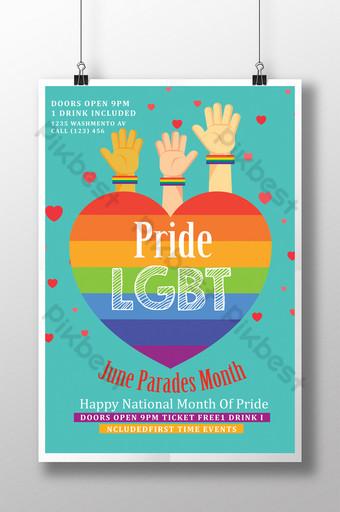 رفع الأيدي لقوالب ملصق فخر المثليين قالب PSD