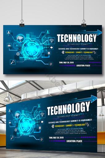 ciência e tecnologia da informação placa de exibição de publicidade azul simples Modelo PSD
