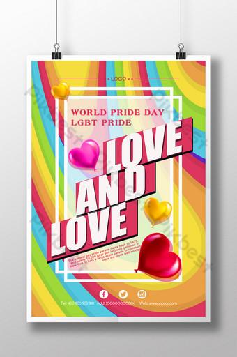 قوس قزح الكرتون لطيف مثلي الجنس فخور قالب ملصق قالب PSD