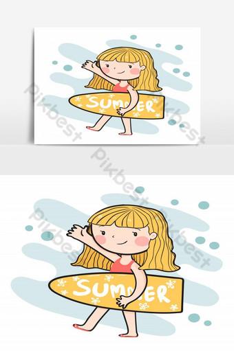 dibujo linda chica surfista feliz sosteniendo vector plano de tabla de surf de verano Elementos graficos Modelo AI