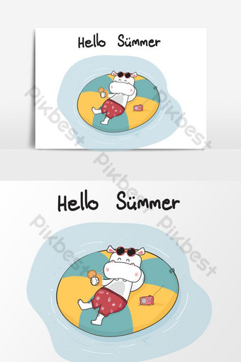 cute cartoon doodle happy hippo in short lying on life ring on sea, summer time PNG Images Template AI
