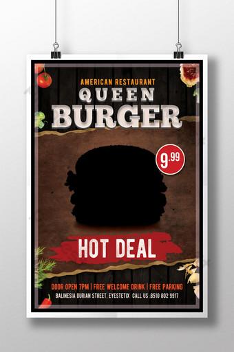 flyer vintage de hamburguesa reina Modelo PSD