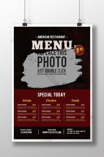 dark vintage grill menu flyer Template PSD