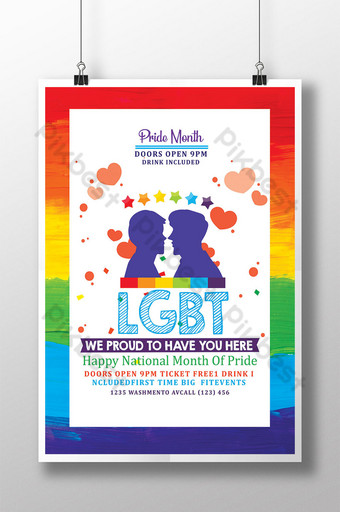 LGBT Pride Month Poster Templates Template PSD