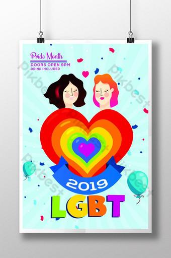 LGBT Pride Month Celebration Flyer Template Poster Template PSD
