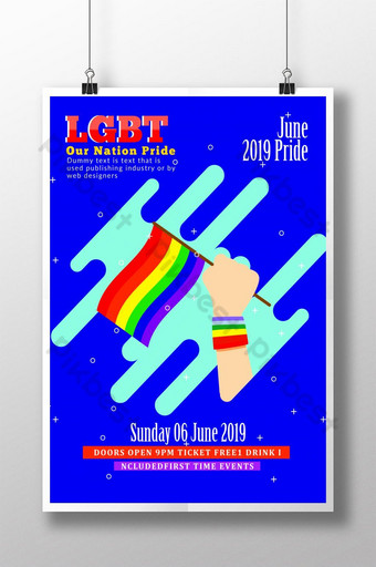Support LGBT Pride Flyer Template Poster Template PSD