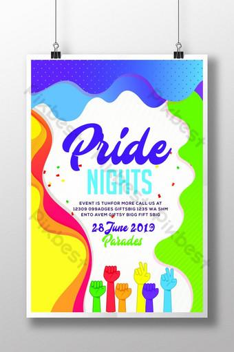 ملون مثلي الجنس يوم فخر نشرة قوالب ملصق قالب PSD