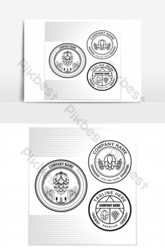 lúpulo fruta y uva insignia ilustración vectorial elemento gráfico Elementos graficos Modelo EPS