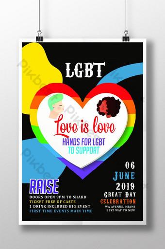 ملصق قوالب ملصق مثلي الجنس باللون الأسود قالب PSD