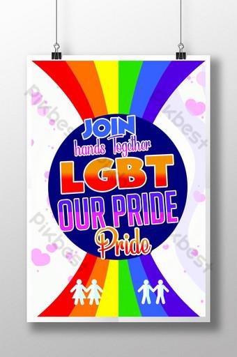 نتكاتف في ملصق قالب نشرة فخر المثليين قالب PSD