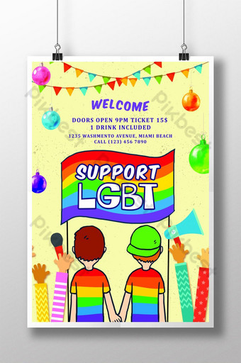 Raise Hands Foe LGBT Pride Flyer Template Poster Template PSD