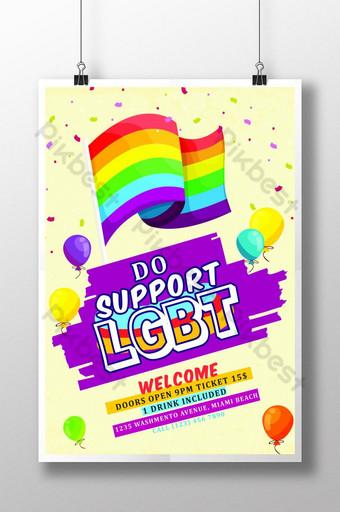 هل تدعم ملصق قالب نشرة المثليين قالب PSD