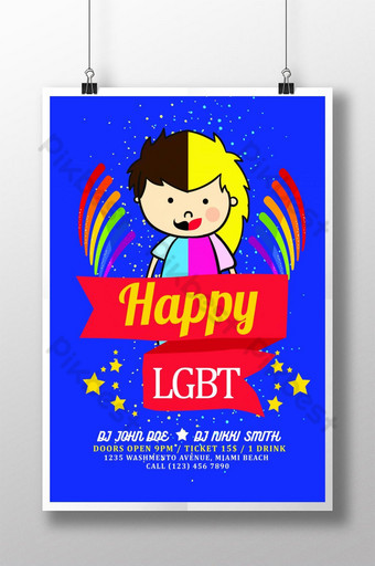 Happy LGBT Pride Flyer Templates Poster Template PSD