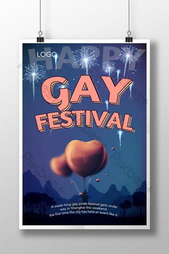 plantilla de cartel del festival del orgullo homosexual retro pasado de moda Modelo PSD