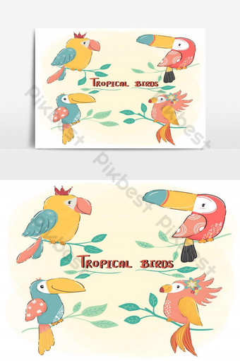 cute drawing flat vector tropical bird set, colorful summer PNG Images Template AI