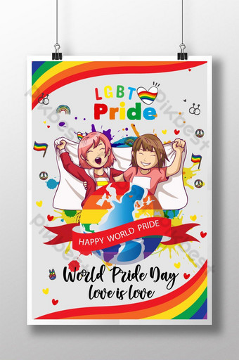 ملصق فخر العالم المثليين قالب AI