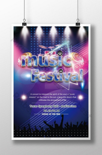 Affiche du festival de musique cool Modèle PSD