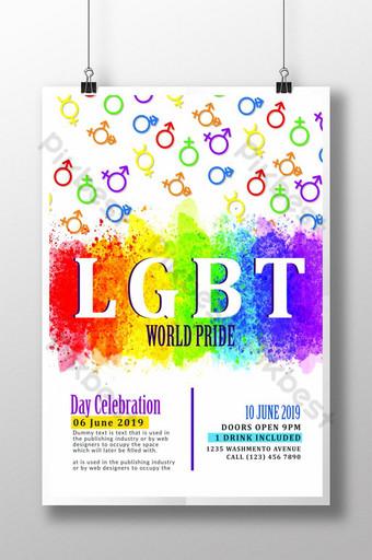الملصق القوالب الملونة المثليين قالب PSD
