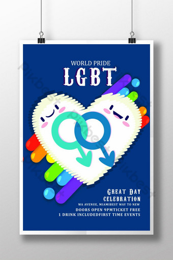 الأزرق الملونة مثلي الجنس فخر نشرة قالب ملصق قالب PSD