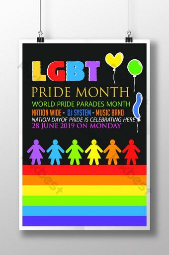 LGBT Pride Month Celebration Flyer Templates Poster Template PSD