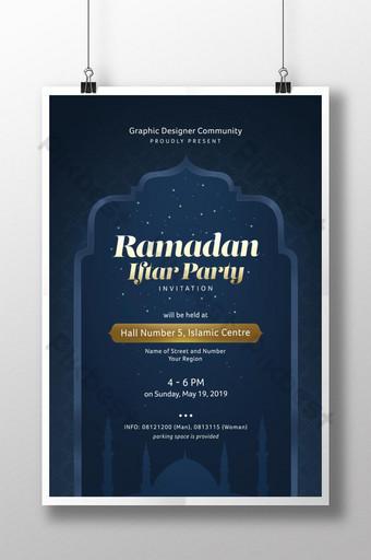 Templat poster acara pesta buka puasa Ramadhan dengan tema warna emas dan biru tua Templat PSD