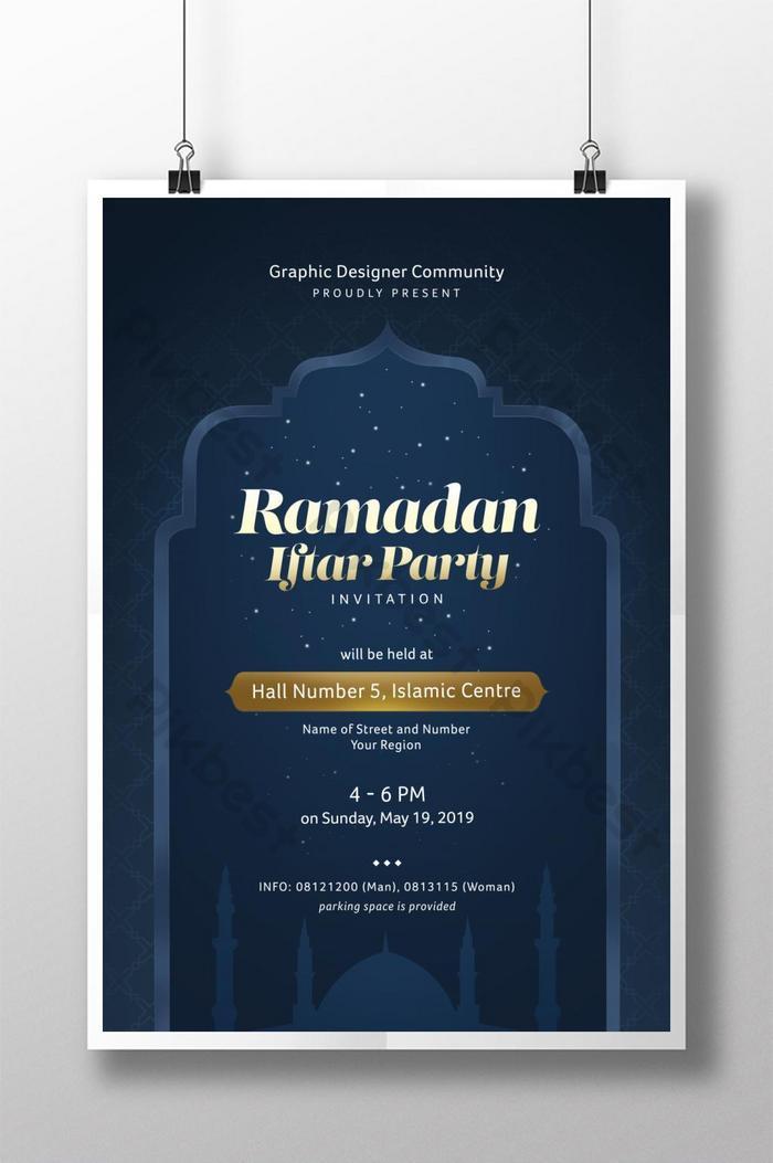 templat poster acara pesta buka puasa ramadhan dengan tema warna emas dan biru tua