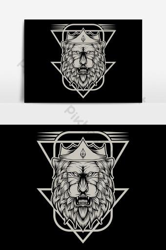 elemento gráfico del ejemplo del vector del rey león Elementos graficos Modelo EPS
