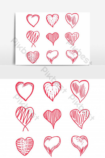 amor mano dibujar conjunto vector elemento gráfico Elementos graficos Modelo EPS