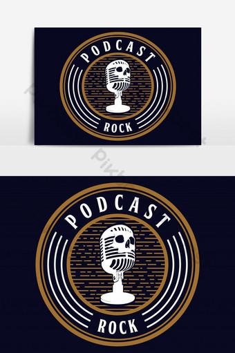 micrófono cráneo podcast rock vector elemento gráfico Elementos graficos Modelo EPS