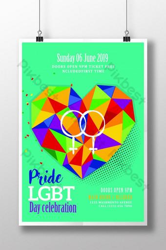Affiche de la fierté LGBT avec coeur Low Poly Modèle PSD