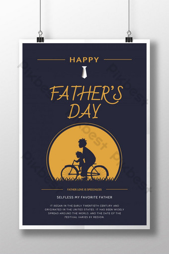 Creative cartoon father's day poster Template PSD