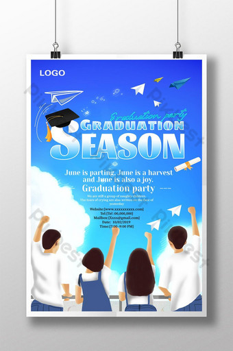 student bachelor hat cartoon graduation season poster Template PSD