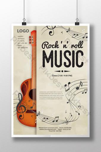 Affiche de notes de musique de guitare abstraite de festival de musique Modèle PSD