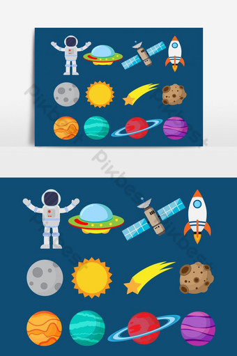 Collection of astronauts in space and planet vector set - Vector illustration PNG Images Template EPS