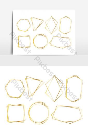 مجموعة من إطارات فاخرة مضلع الذهبي مجموعة ناقلات صور PNG قالب EPS
