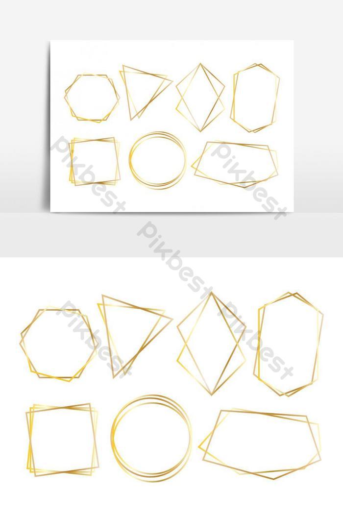 коллекция золотых многоугольных роскошных рамок Векторный набор